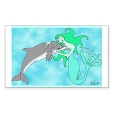 Mermaid & Dolphin Rectangle Decal