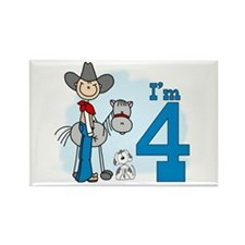 Stick Cowboy 4th Birthday Rectangle Magnet