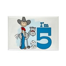 Stick Cowboy 5th Birthday Rectangle Magnet