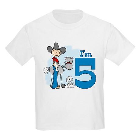 Stick Cowboy 5th Birthday Kids Light T-Shirt