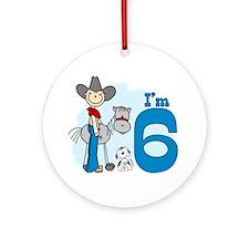 Stick Cowboy 6th Birthday Ornament (Round)