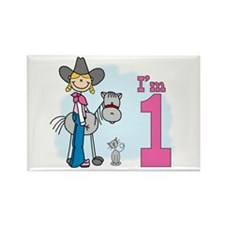 Stick Cowgirl First Birthday Rectangle Magnet