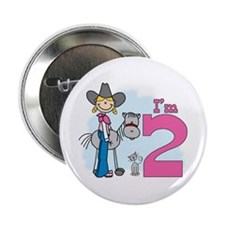 "Stick Cowgirl 2nd Birthday 2.25"" Button"