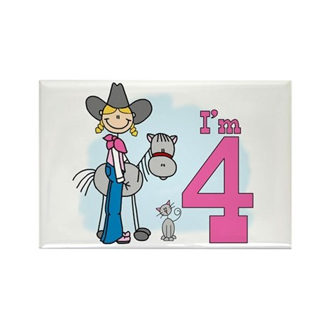Stick Cowgirl 4th Birthday Rectangle Magnet