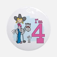 Stick Cowgirl 4th Birthday Ornament (Round)