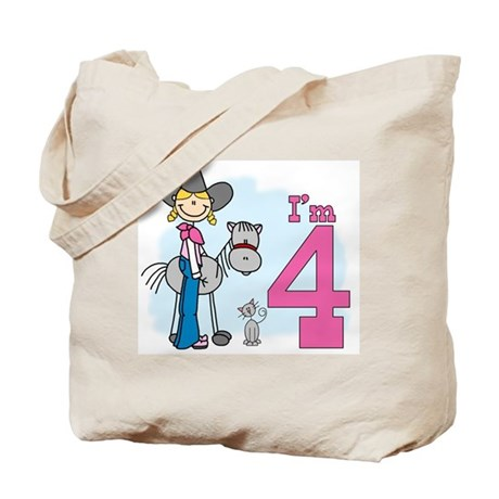 Stick Cowgirl 4th Birthday Tote Bag