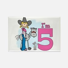 Stick Cowgirl 5th Birthday Rectangle Magnet