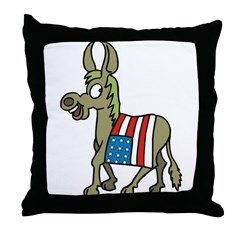 Democrat Donkey With Flag Throw Pillow