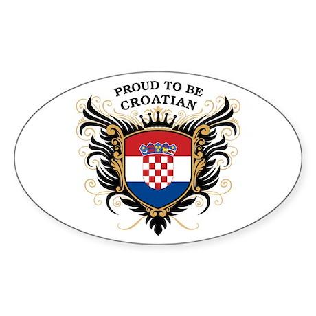 Proud to be Croatian Oval Sticker