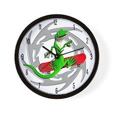 Skateboard Gecko Wall Clock