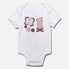Pink Butterfly First Birthday Infant Bodysuit