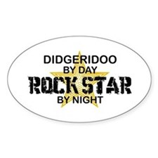 Didgeridoo Player Rock Star Oval Decal