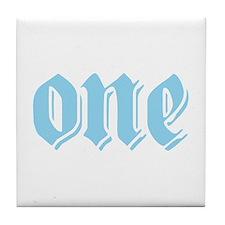ONE birthday boy blue Tile Coaster