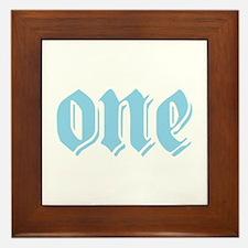 ONE birthday boy blue Framed Tile