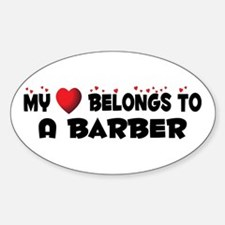 Belongs To A Barber Oval Decal