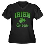 Queens Irish Women's Plus Size V-Neck Dark T-Shirt