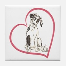 NH Pup Heartline Tile Coaster