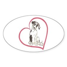 NH Pup Heartline Oval Decal