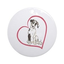 NH Pup Heartline Ornament (Round)