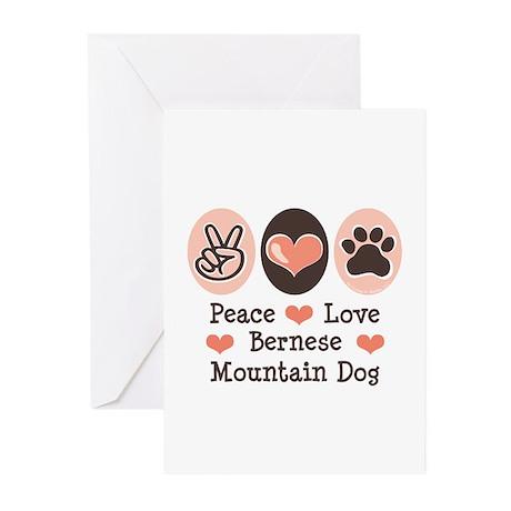 Peace Love Bernese Mountain Dog Greeting Cards (Pk