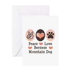 Peace Love Bernese Mountain Dog Greeting Card