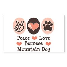 Peace Love Bernese Mountain Dog Sticker (Rectangul