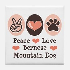 Peace Love Bernese Mountain Dog Tile Coaster