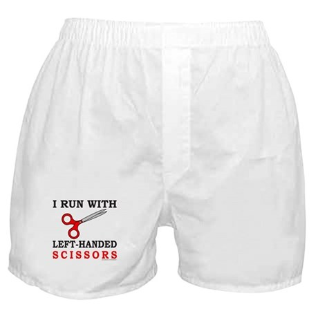 I RUN WITH LEFT HANDED SCISSORS Boxer Shorts