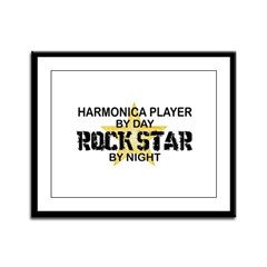 Harmonica Player Rock Star Framed Panel Print