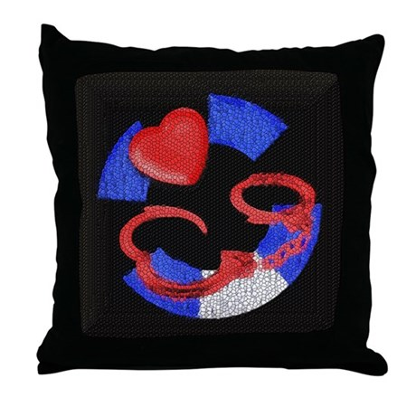 LEATHER PRIDE__HANDCUFFS Throw Pillow