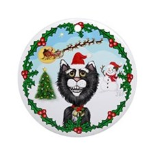 Cartoon Cat (BW) & Santa - Ornament (Round)