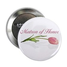Pink Tulip Matron of Honor Button