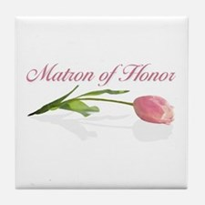 Pink Tulip Matron of Honor Tile Coaster
