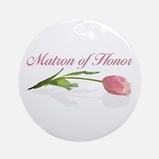 Pink Tulip Matron of Honor Ornament (Round)