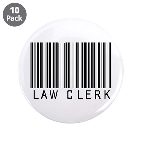 """Law Clerk Barcode 3.5"""" Button (10 pack)"""