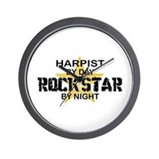Harpist Rock Star by Night Wall Clock