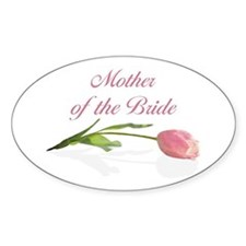 Pink Tulip Mother of Bride Oval Decal