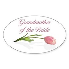 Pink Tulip Grandmother of Bride Oval Decal