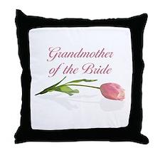 Pink Tulip Grandmother of Bride Throw Pillow