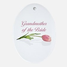 Pink Tulip Grandmother of Bride Oval Ornament