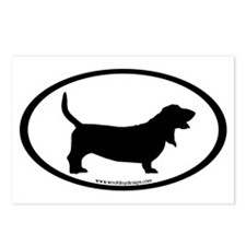 Basset Hound Oval Postcards (Package of 8)