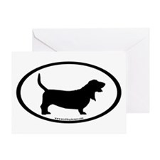 Basset Hound Oval Greeting Card