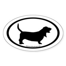 Basset Hound Oval (inner border) Oval Decal
