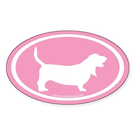 Basset Hound Oval (pink) Oval Sticker