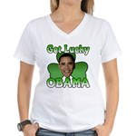 Get Lucky Obama Women's V-Neck T-Shirt