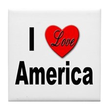 I Love America Tile Coaster