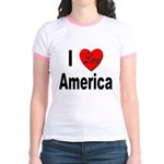 I Love America (Front) Jr. Ringer T-Shirt