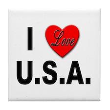I Love U.S.A. Tile Coaster