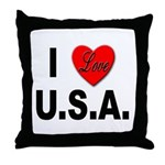 I Love U.S.A. Throw Pillow