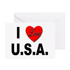 I Love U.S.A. Greeting Cards (Pk of 10)